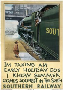 I'm Taking an Early Holiday. Waterloo Station. Vintage SR Travel poster. 1936